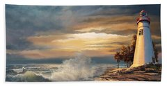 Sunset With Ohio Marble Head Lighthouse Hand Towel