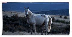 Sunset With Wild Stallion Tripod In Sand Wash Basin Bath Towel