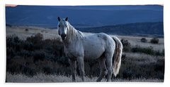 Sunset With Wild Stallion Tripod In Sand Wash Basin Hand Towel