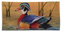 Sunset Wood Duck Hand Towel