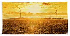 Sunsets And Golden Turbines Hand Towel