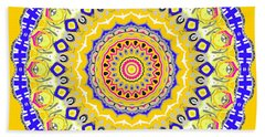 Bath Towel featuring the digital art Sunshine And Blue Skies Mandala by Joy McKenzie
