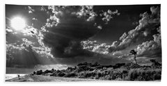 Sunshine On Sanibel Island In Black And White Bath Towel
