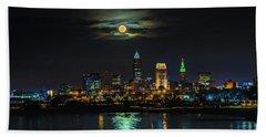 Super Full Moon Over Cleveland Bath Towel