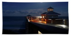 Super Moon At Juno Pier Bath Towel