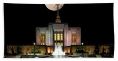 Super Moon At Ogden Lds Temple Hand Towel