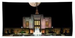 Super Moon At Ogden Lds Temple Bath Towel
