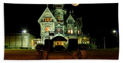 Super Moon Over Carson Mansion Hand Towel