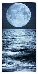 Super Moon Over Ocean Hand Towel