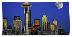 Super Moon Over Seattle Hand Towel