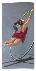 Supergirl On Cyr Wheel  Hand Towel
