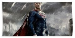 Superman Oil Pastel Sketch Hand Towel