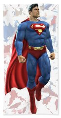 Hand Towel featuring the mixed media Superman Splash Super Hero Series by Movie Poster Prints