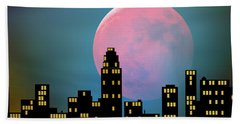 Supermoon Over The City Bath Towel by Klara Acel
