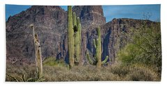Superstition Mountain With Cactus Hand Towel