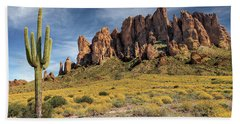 Bath Towel featuring the photograph Superstition Mountains Saguaro by James Eddy
