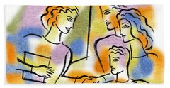 Bath Towel featuring the painting Support And Family Assistance by Leon Zernitsky