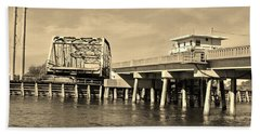 Surf City Bridge - Sepia Hand Towel by Bob Sample