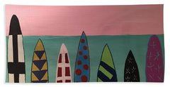 Surfboards At On Beach Hand Towel by Paula Brown