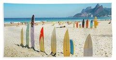 Surfboards On Ipanema Beach, Rio De Janeiro Hand Towel