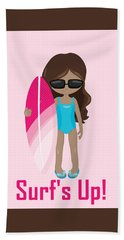 Surfer Art Surf's Up Girl With Surfboard #16 Hand Towel