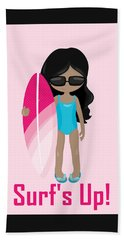 Surfer Art Surf's Up Girl With Surfboard #17 Hand Towel