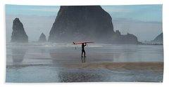 Surfer At Haystack Rock Bath Towel
