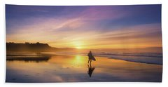Surfer In Beach At Sunset Hand Towel