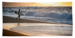 Surfer On Beach Hand Towel