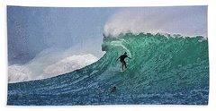 Bath Towel featuring the digital art Surfer On Blue Ocean Wave by PixBreak Art