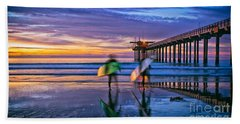 Surfers At Scripps Pier In La Jolla California Hand Towel