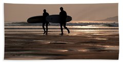 Surfers At Sunset Hand Towel