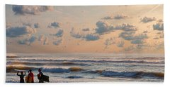 Surfing At Sunrise On The Jersey Shore Hand Towel
