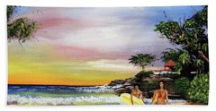 Surfing In Rincon Hand Towel by Luis F Rodriguez