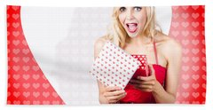 Surprised Attractive Girl With Heart Gift Box Hand Towel