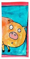 Surprised Pig Bath Towel