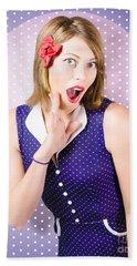 Surprised Pin-up Woman In Purple Polka Dot Dress Bath Towel