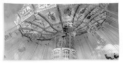 Hand Towel featuring the photograph Surreal Carnival Rides - Carnival Rides Ferris Wheel Black And White Photography Prints Home Decor by Kathy Fornal