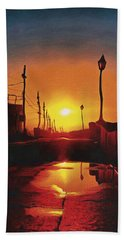 Surreal Cityscape Sunset Hand Towel