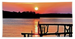 Surreal Smith Mountain Lake Dock Sunset Hand Towel