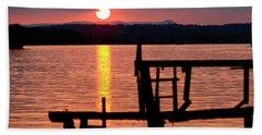 Surreal Smith Mountain Lake Dockside Sunset 2 Hand Towel