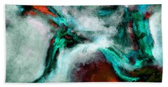Hand Towel featuring the painting Surrealist And Abstract Painting In Orange And Turquoise Color by Ayse Deniz
