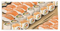 Hand Towel featuring the painting Sushi by Veronica Minozzi