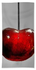 Bath Towel featuring the photograph Suspended Cherry by Suzanne Stout