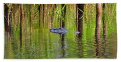 Hand Towel featuring the photograph Swamp Stalker by Al Powell Photography USA