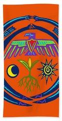 Hand Towel featuring the digital art Sw Shaman Eagle Rain Dance by Vagabond Folk Art - Virginia Vivier