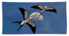 Bath Towel featuring the photograph Swallow Tail Kites In Flight Under Moon by Justin Kelefas