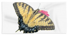Swallowtail Butterfly And Zinnia- Transparent Backgroud Hand Towel
