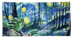 Swampy Night Hand Towel by Tom Carlton