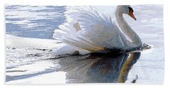 Swan Bathed In Morning Light Series 3 - Digitalart Hand Towel